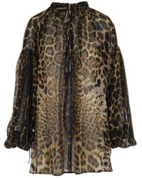Saint Laurent - Leopard Print Draped Top - Lyst