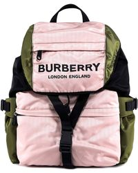 Burberry - Logo Print Tri-tone Nylon Backpack - Lyst
