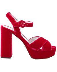 065a9d2642c Prada - Velvet Platform Sandals - Lyst