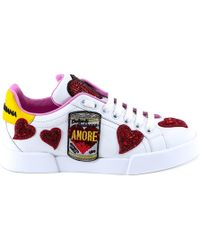 Dolce & Gabbana - Heart Embellished Trainers - Lyst