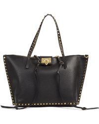 518bb144e Valentino 'my Rockstud' Small Top Handle Leather Bag in Purple - Lyst