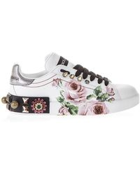 0a6672c28fc8 Dolce   Gabbana - Rose Printed Leather Sneakers - Lyst