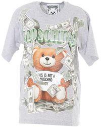 Moschino - Teddy Dollar Print T-shirt - Lyst