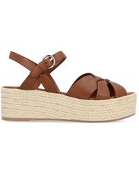 00cb767e6 Prada Double Ankle-Strap Sandals in Brown - Lyst