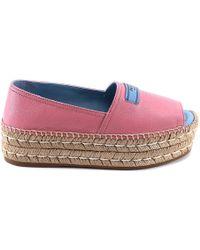 Prada - Peep Toe Leather Espadrilles - Lyst