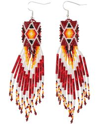 Jessie Western Beaded Earrings - Red