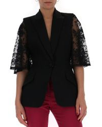Alexander McQueen - Lace Sleeves Tailored Jacket - Lyst