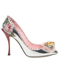 tiger front stud and floral detailed pumps - Metallic Dolce & Gabbana TbA664ixJ