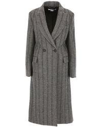 Stella McCartney - Striped Double Breasted Coat - Lyst
