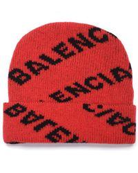 Balenciaga - Logo Knitted Beanie - Lyst
