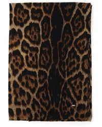 Saint Laurent Leopard Print Scarf - Multicolour