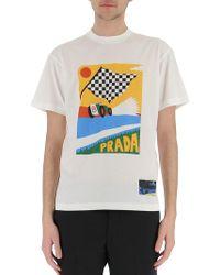 Prada - Race Car Printed T-shirt - Lyst