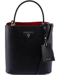 2142bdcaf7c3 Prada Calf Leather Top-handle Bag in Black - Lyst