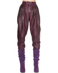 Alberta Ferretti - High Waisted Leather Pants - Lyst
