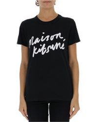 Maison Kitsuné - Logo Print T-shirt - Lyst