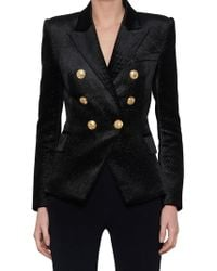 4897c239 Balmain Double Breasted Tailored Blazer in Black - Lyst