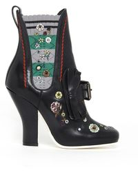 Fendi - Embroidered Ankle Boots - Lyst