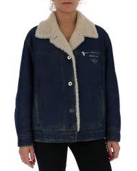 Leather Lyst Shearling Jacket Lined Prada wqEv44I