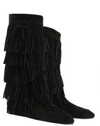 Saint Laurent - Fringed Suede Boots - Lyst