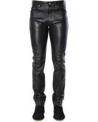 Saint Laurent - Black Leather Trousers - Lyst