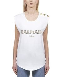 3de9dbc2 Balmain - Sleeveless Printed Cotton T-shirt - Lyst