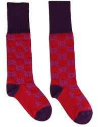 07d5ef185be Gucci - Red And Purple GG Supreme Long Socks - Lyst