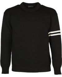 Prada - Stripe Sleeve Knit Jumper - Lyst