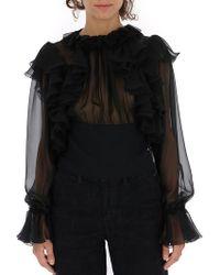 Dolce & Gabbana - Ruffled Sheer Blouse - Lyst
