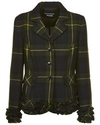 Boutique Moschino - Ruffle Detail Plaid Jacket - Lyst