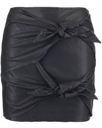 Étoile Isabel Marant - Leather Tie Detailed Skirt - Lyst