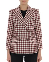 Mulberry - Double Breasted Check Blazer - Lyst