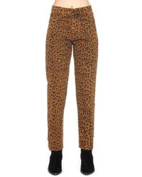 Saint Laurent - Leopard Print Jeans - Lyst