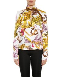 JW Anderson - Floral Printed Belt Neck Blouse - Lyst