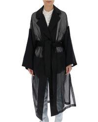 Loewe - Sheer Panelled Tie-front Coat - Lyst