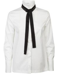 Brunello Cucinelli - Tie Neck Shirt - Lyst