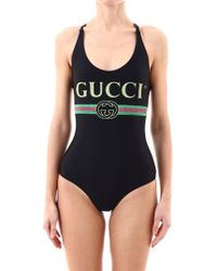 Gucci - Logo Printed Swimsuit - Lyst