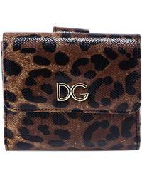 70301f7ec0 Dolce & Gabbana - Leopard Print Small Flap Wallet - Lyst