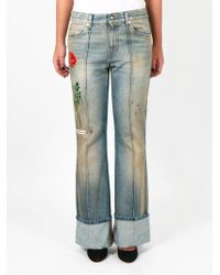 Gucci - Floral Embroidered Jeans - Lyst
