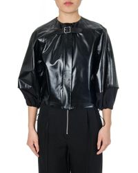 Céline - Collarless Elasticated Leather Jacket - Lyst