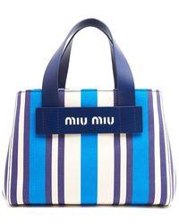 Miu Miu - Striped Top Handle Carry Bag - Lyst