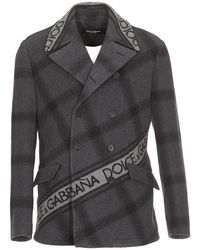 Dolce & Gabbana - Double Breasted Logo Band Coat - Lyst