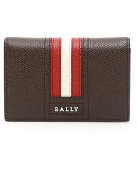 Bally - Striped Leather Bi-fold Wallet - Lyst