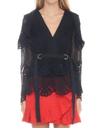 Self-Portrait - Netted V-neck Top - Lyst