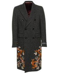 Gucci - Herringbone Coat With Dragons - Lyst