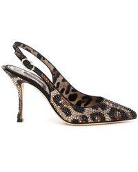 Dolce & Gabbana - Leopard Print Embellished Slingback Pumps - Lyst