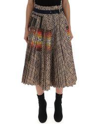 64b0c8eb3e Sacai Buckled Pleated Wrap Panel Denim Skirt in Black - Lyst