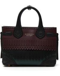 Lyst - Burberry Small Banner Brogue Tote Bag in Black 313c15833e51c