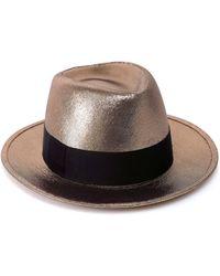 Saint Laurent - Metallic Wide Brim Trilby Hat - Lyst