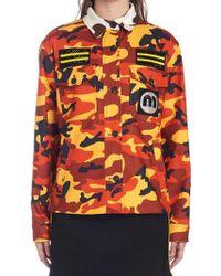 9ceaa5e337aa Miu Miu - Camouflage Logo Jacket - Lyst
