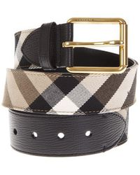 Burberry - House Check Leather Belt - Lyst